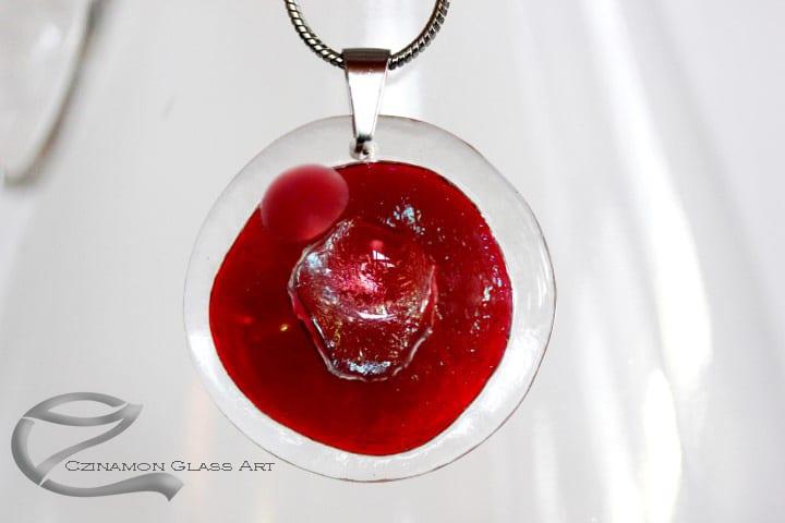 Bordó üveg nyaklánc