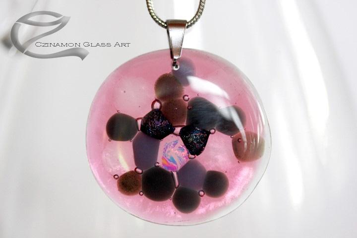 Rózsaszín, lila kerek üveg medál