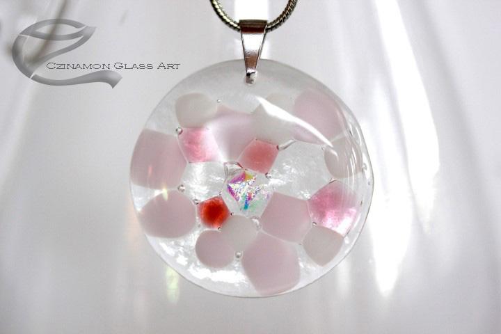 Halvány rózsaszín kerek üveg medál
