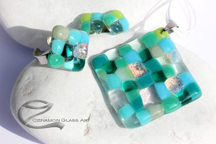 Türkiz mozaik üveg ékszer szett, Mozaik ékszer