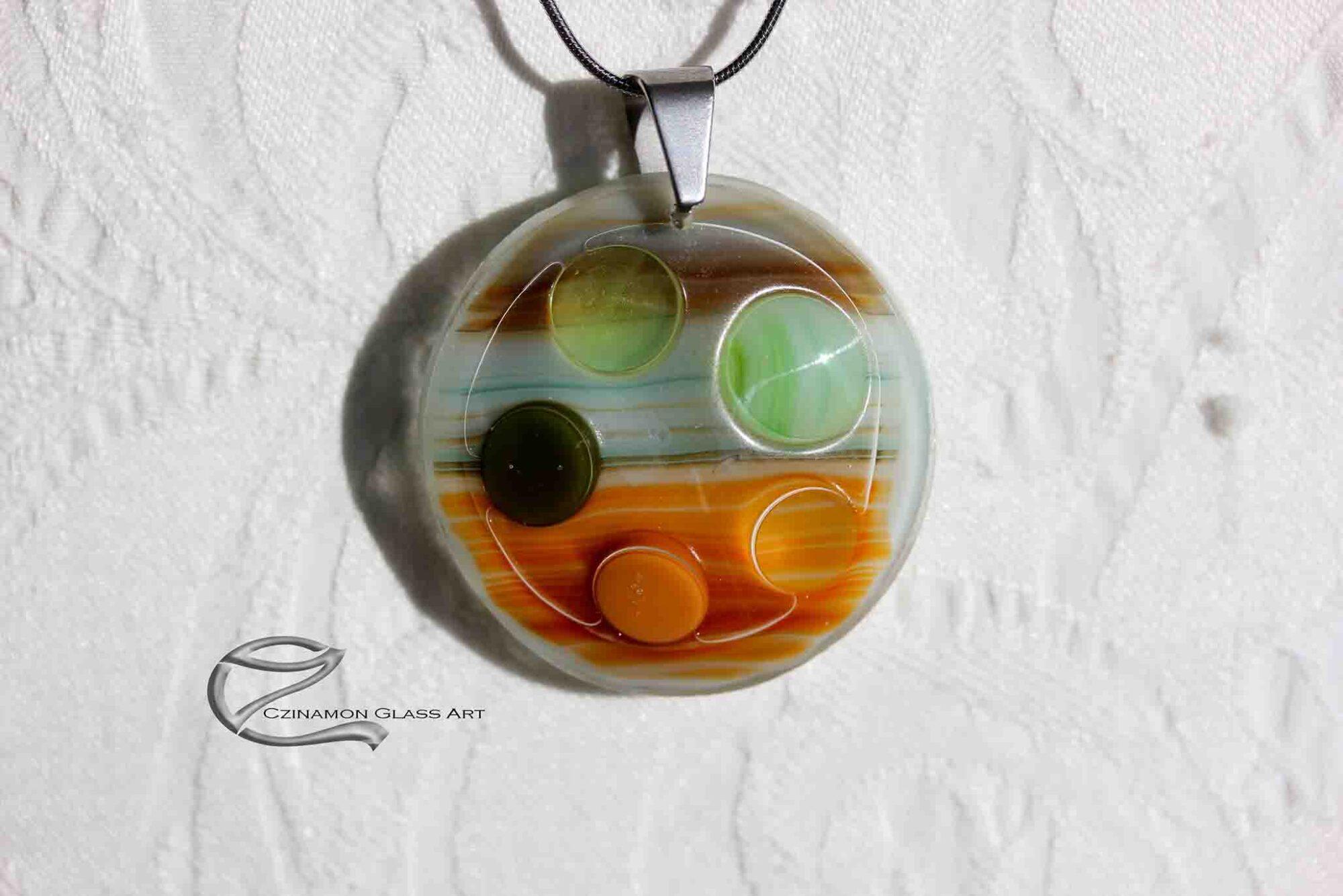 Narancs zöld üveg medál
