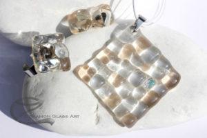 Átlátszó mozaik üveg ékszer szett
