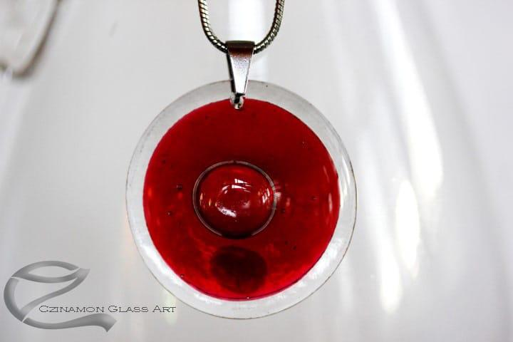 Bordó üveg medál