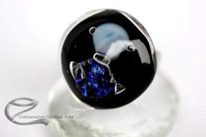 Fekete kék dichroic kerek üveg gyűrű