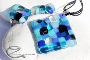 Kék mozaik üveg ékszer szett