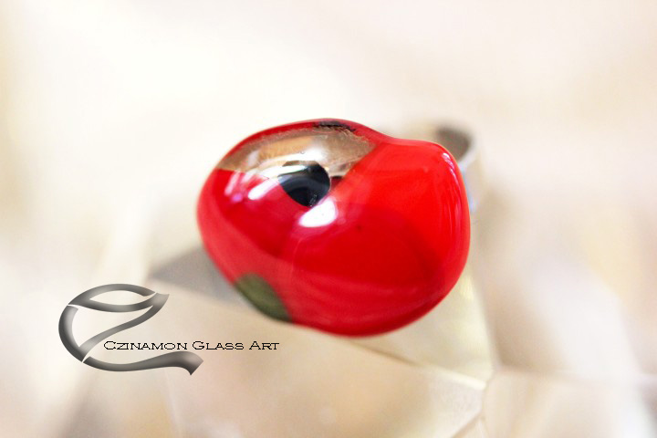 Pipacsos üveg gyűrű