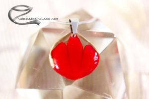 Tulipán üveg medál