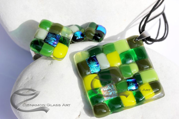Zöld mozaik üveg ékszer szett