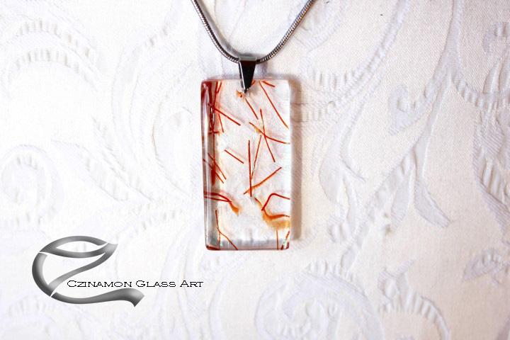 Üveg medál, korall, átlátszó