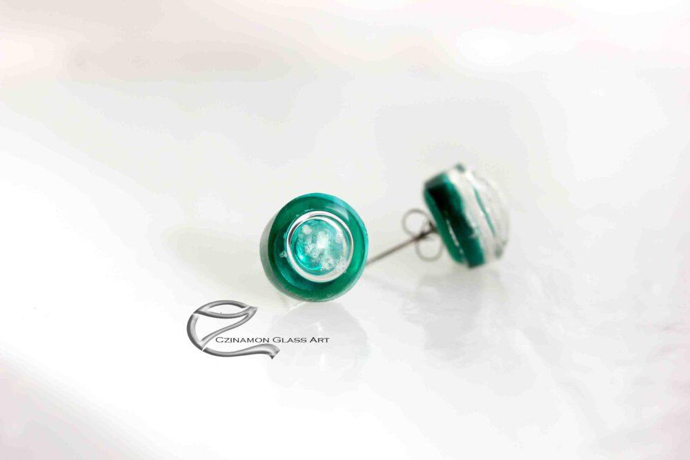 Zöld üveg fülbevaló