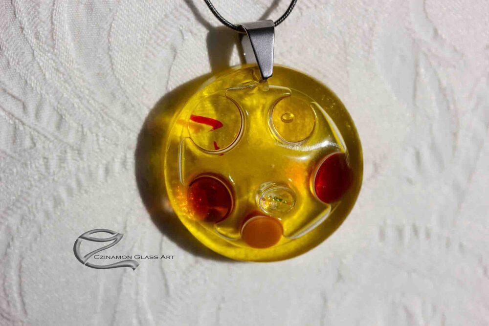 Aranysárga üveg medál