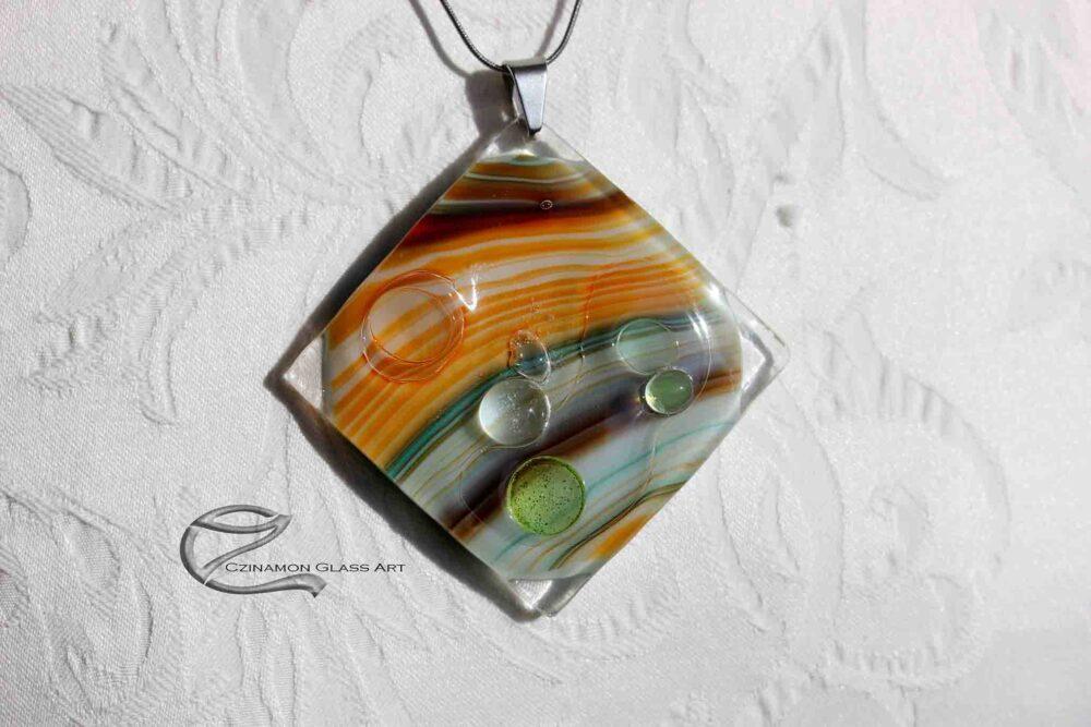 Zöld narancs üveg medál