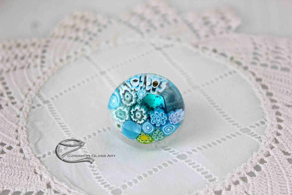 Türkiz gyűrű, millefiori üvegből