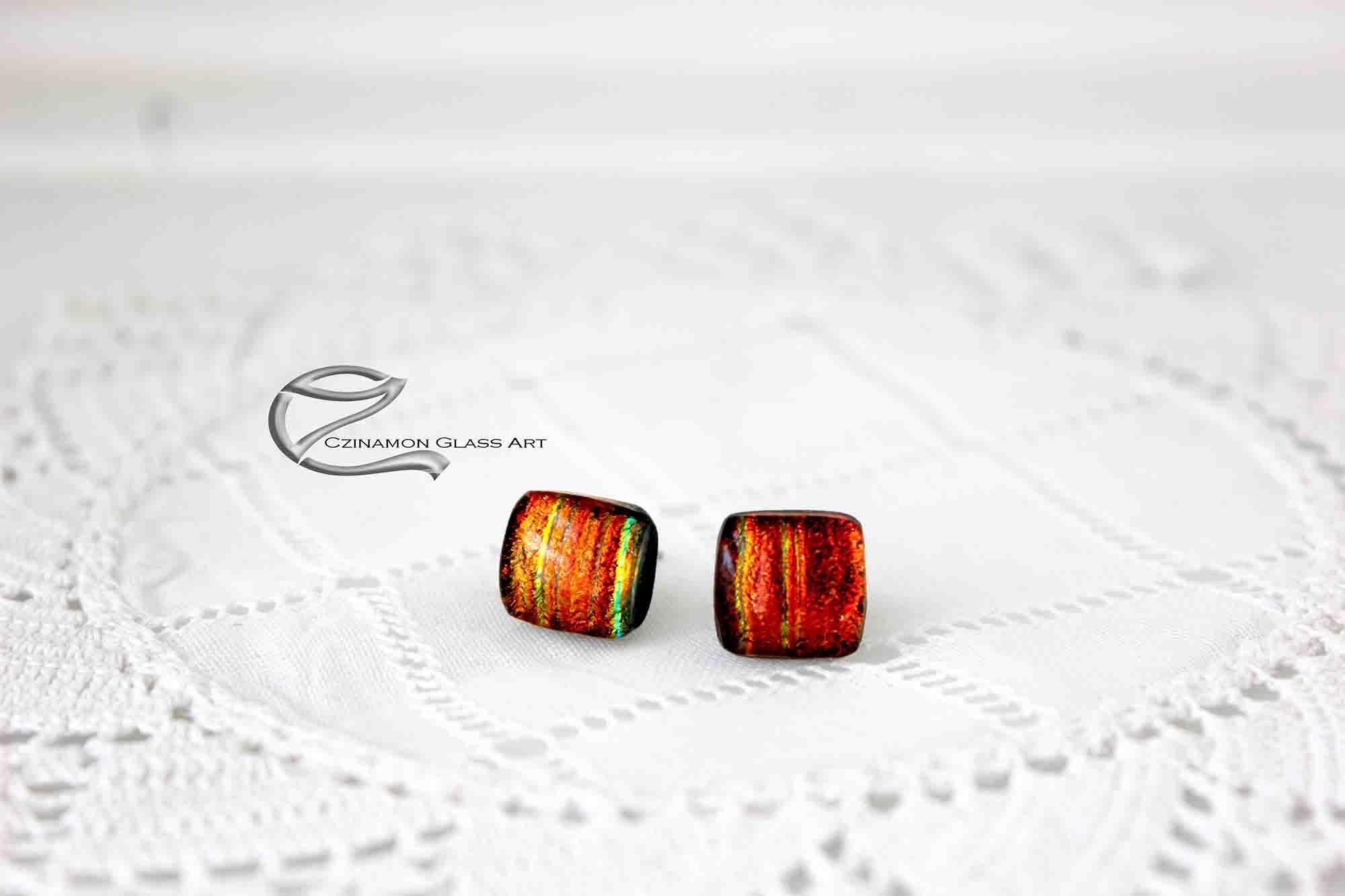 Narancsvörös dichroic fülbevaló