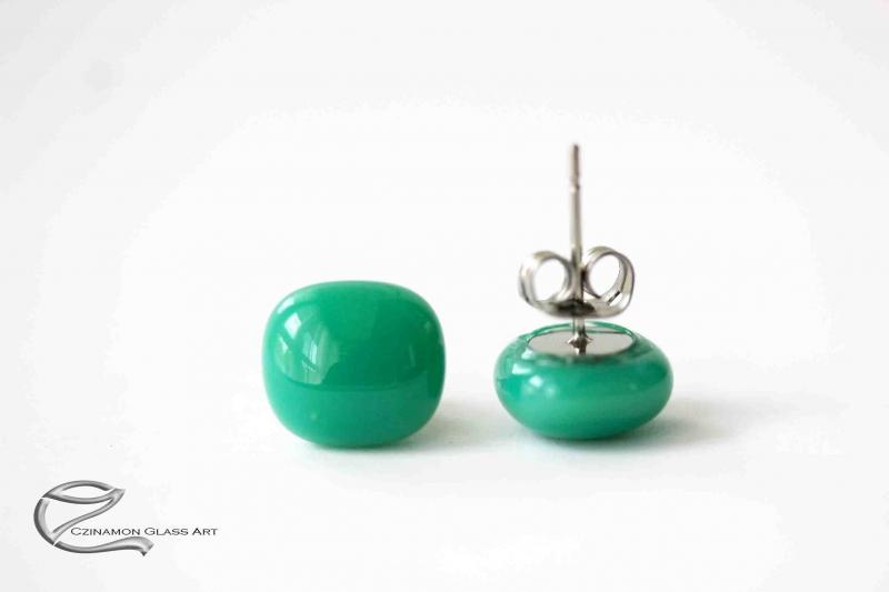 Cédrus zöld üveg fülbevaló