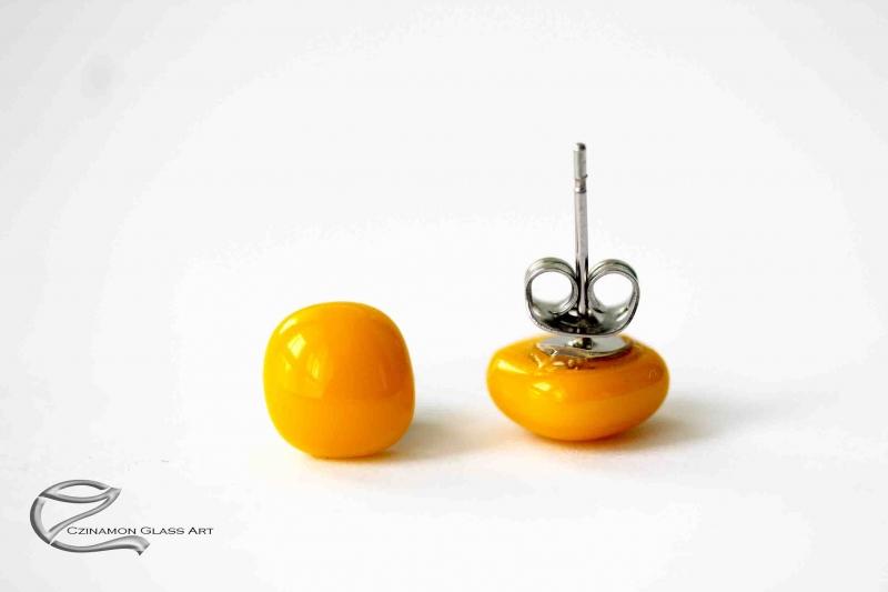 Indiai sárgás üveg fülbevaló kicsi